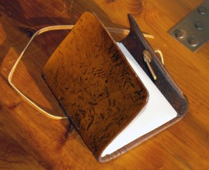 leather handmade notebook open